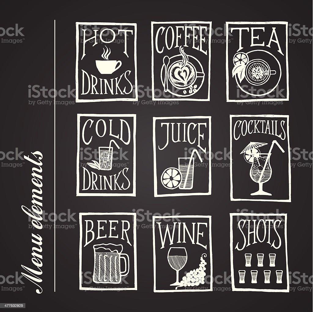 blackboard menu icons - BEVERAGES vector art illustration