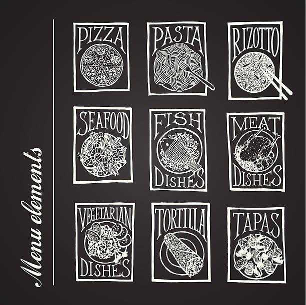 tafel karte icons-gerichte - risotto stock-grafiken, -clipart, -cartoons und -symbole