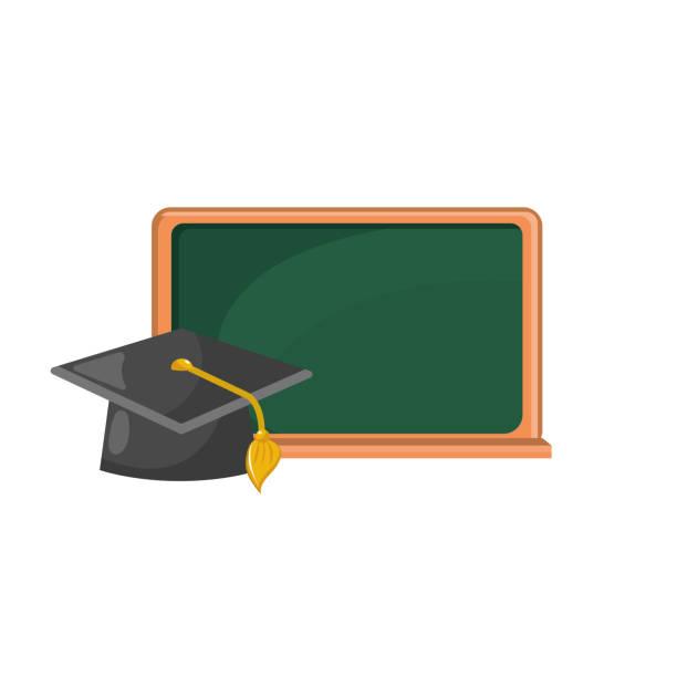キャップ卒業設計と黒板オブジェクト - 中学校点のイラスト素材/クリップアート素材/マンガ素材/アイコン素材