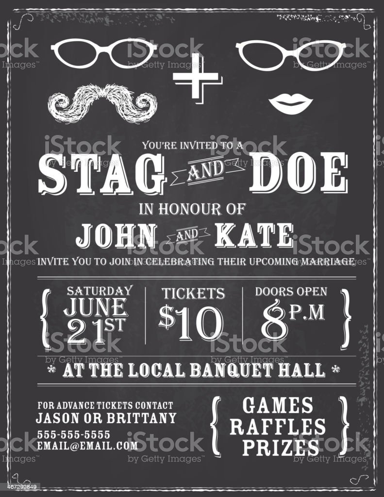 Blackboard Theme Stag And Doe Engagement Party Invitation Design ...