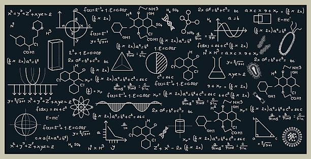 blackboard Blackboard with math and science by writing on the blackboard. mathematical symbol stock illustrations