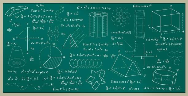 blackboard Blackboard with geometric figures and numbering formulas. mathematical formula stock illustrations