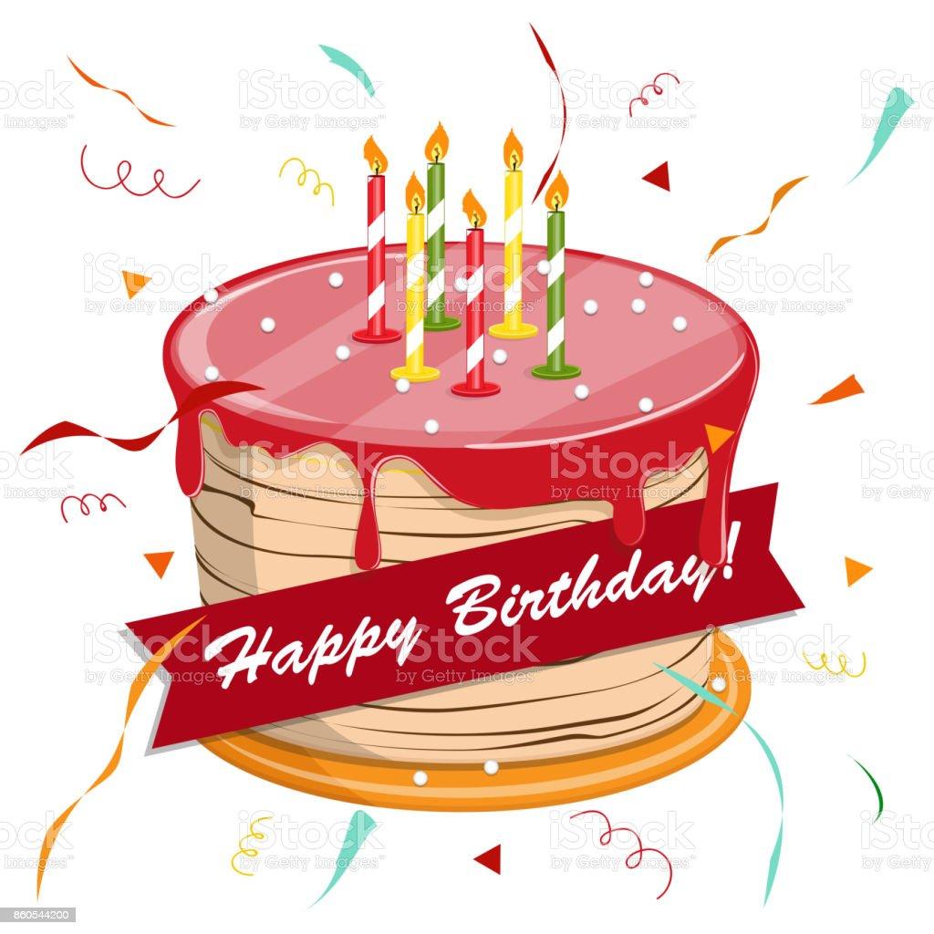 Tableau Noir Avec Une Félicitation Chapeau Festif Illustration Vectorielle Dessin Animé Mignon Joyeux Anniversaire Gâteau Avec Bougies Vecteurs