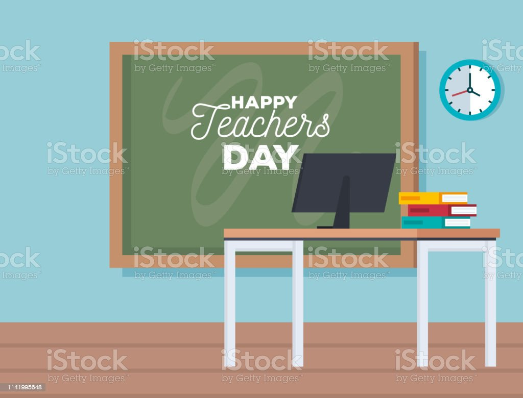 blackboard with computer to teacher day celebration vector...
