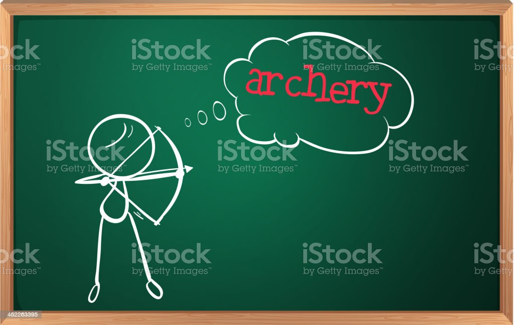 blackboard with drawing of a boy playing archery royalty-free stock vector art