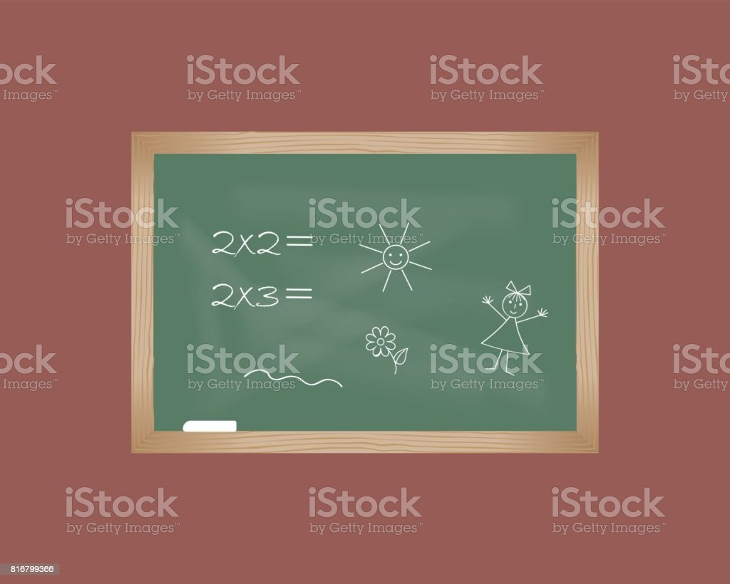 Blackboard with drawings of children vector art illustration