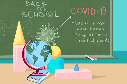 Blackboard with instructions for pupils on how to behave at school during coronavirus pandemic