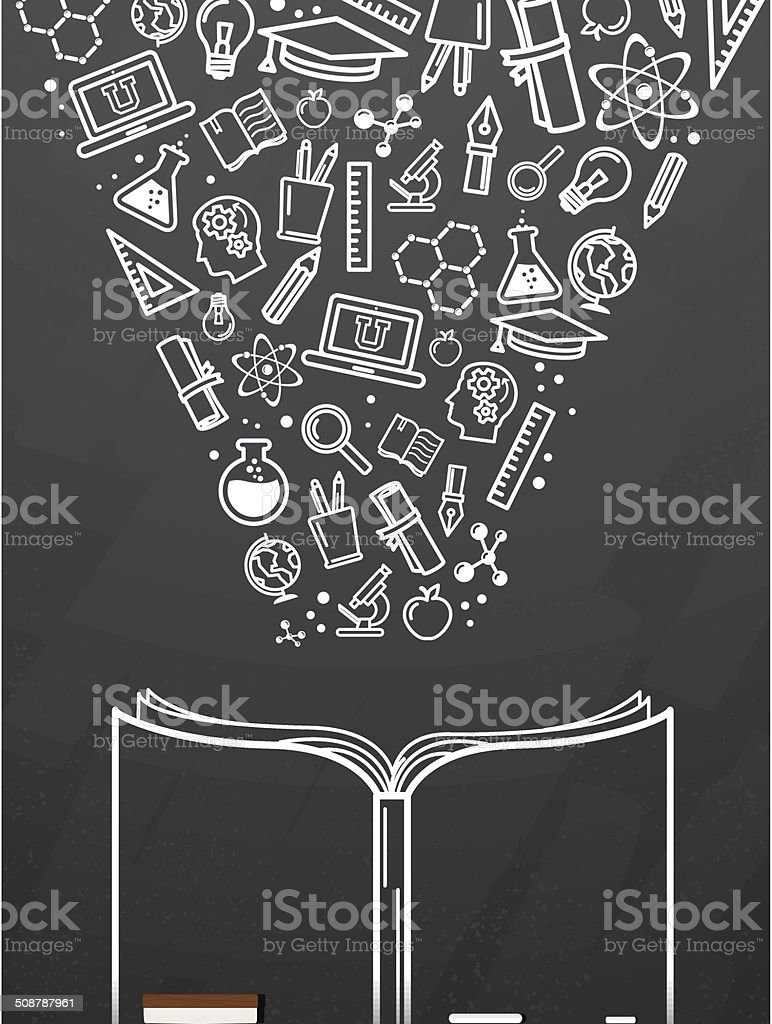 Blackboard with open book and education icons royalty-free stock vector art