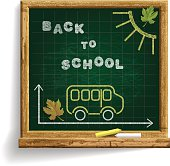 Blackboard with School Bus and expression 'Back to School'