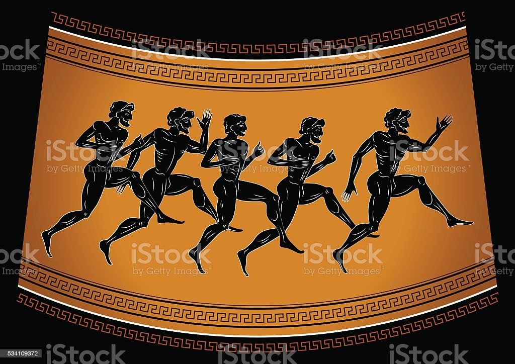 Black-figured runners in antique style. vector art illustration