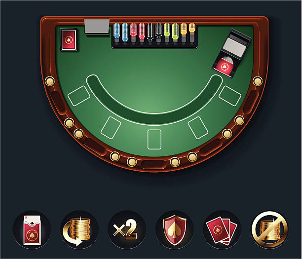 bildbanksillustrationer, clip art samt tecknat material och ikoner med blackjack table layout - black jack