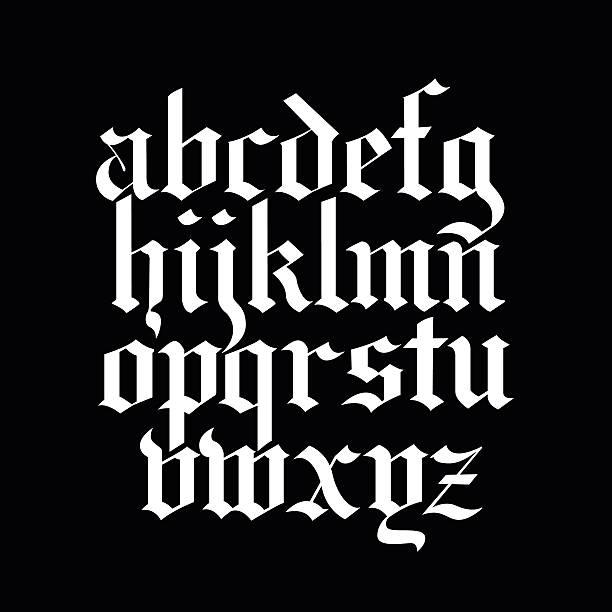 Blackletter calligraphy font Vector blackletter calligraphy font obsolete stock illustrations