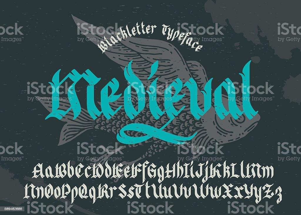 Black-letter fracture font with flying fish illustration.