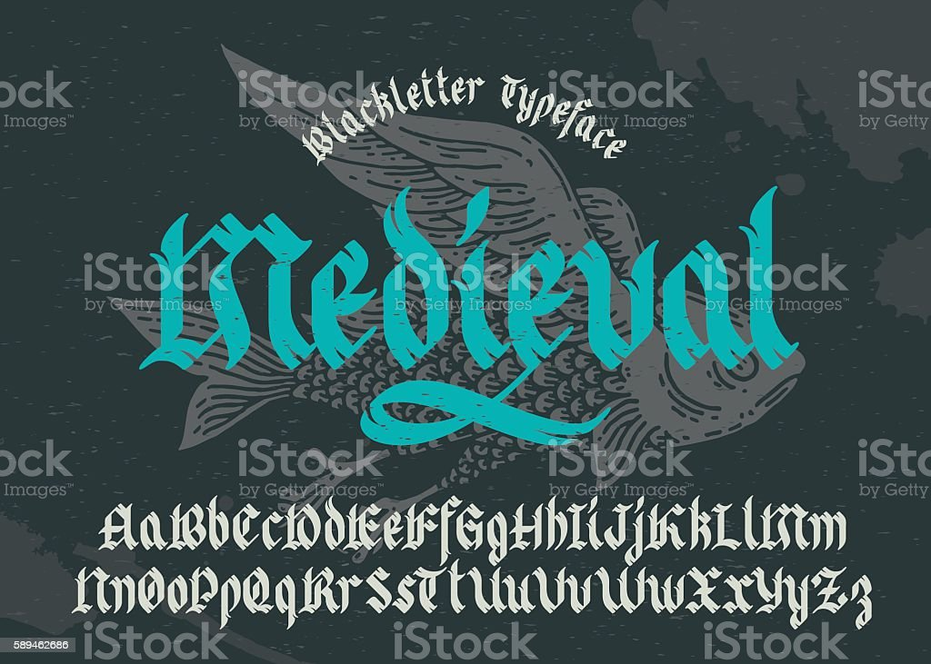 Black-letter fracture font with flying fish illustration. vector art illustration
