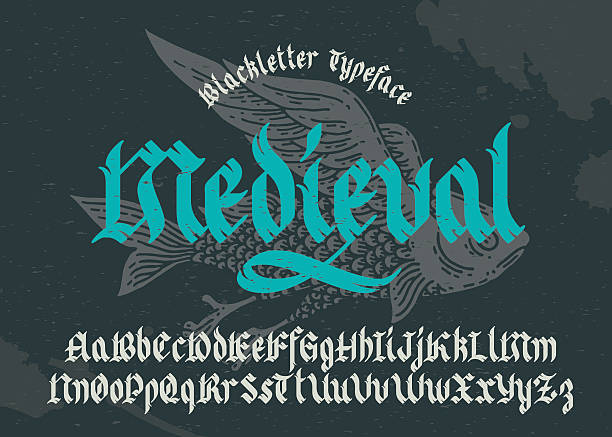 black-letter fracture font with flying fish illustration. - 中古時代 幅插畫檔、美工圖案、卡通及圖標