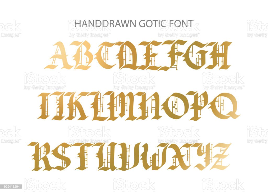 Blackletter Gothic Script Hand Drawn Font Royalty Free Handdrawn Stock