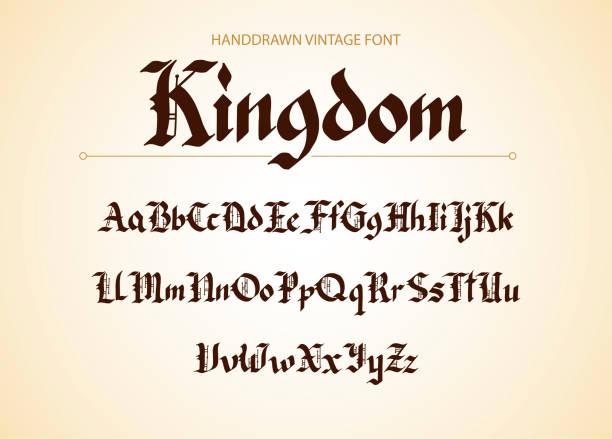 gebrochenen gotischen handgezeichneten schreibschrift - mittelalterlich stock-grafiken, -clipart, -cartoons und -symbole