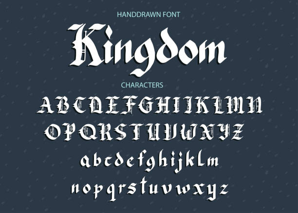 illustrations, cliparts, dessins animés et icônes de polices de dessinés à la main d'écriture gothique gothique - polices de tatouage