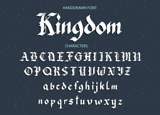 Blackletter gothic script hand-drawn font vector art illustration