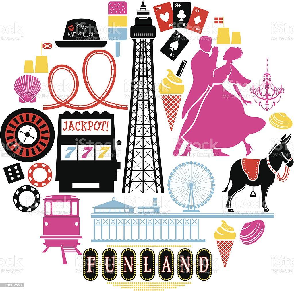Blackpool Icon Set vector art illustration