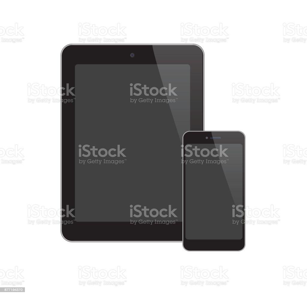 Black-Screen-Phone-Tablet vector art illustration