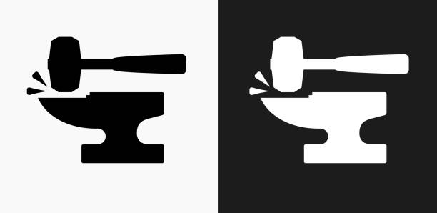 Blacksmith Anvil and Lump Hammer Icon on Black and White Vector Backgrounds vector art illustration