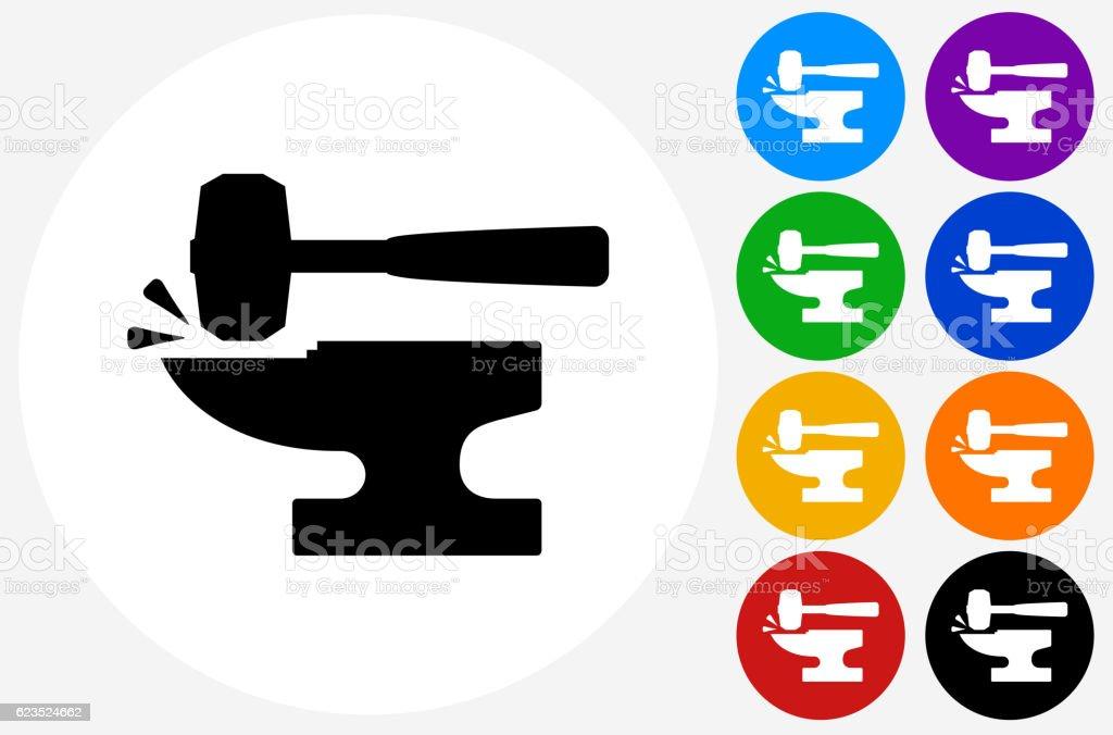 Blacksmith Anvil  Lump Hammer Icon on Flat Color Circle Butto vector art illustration