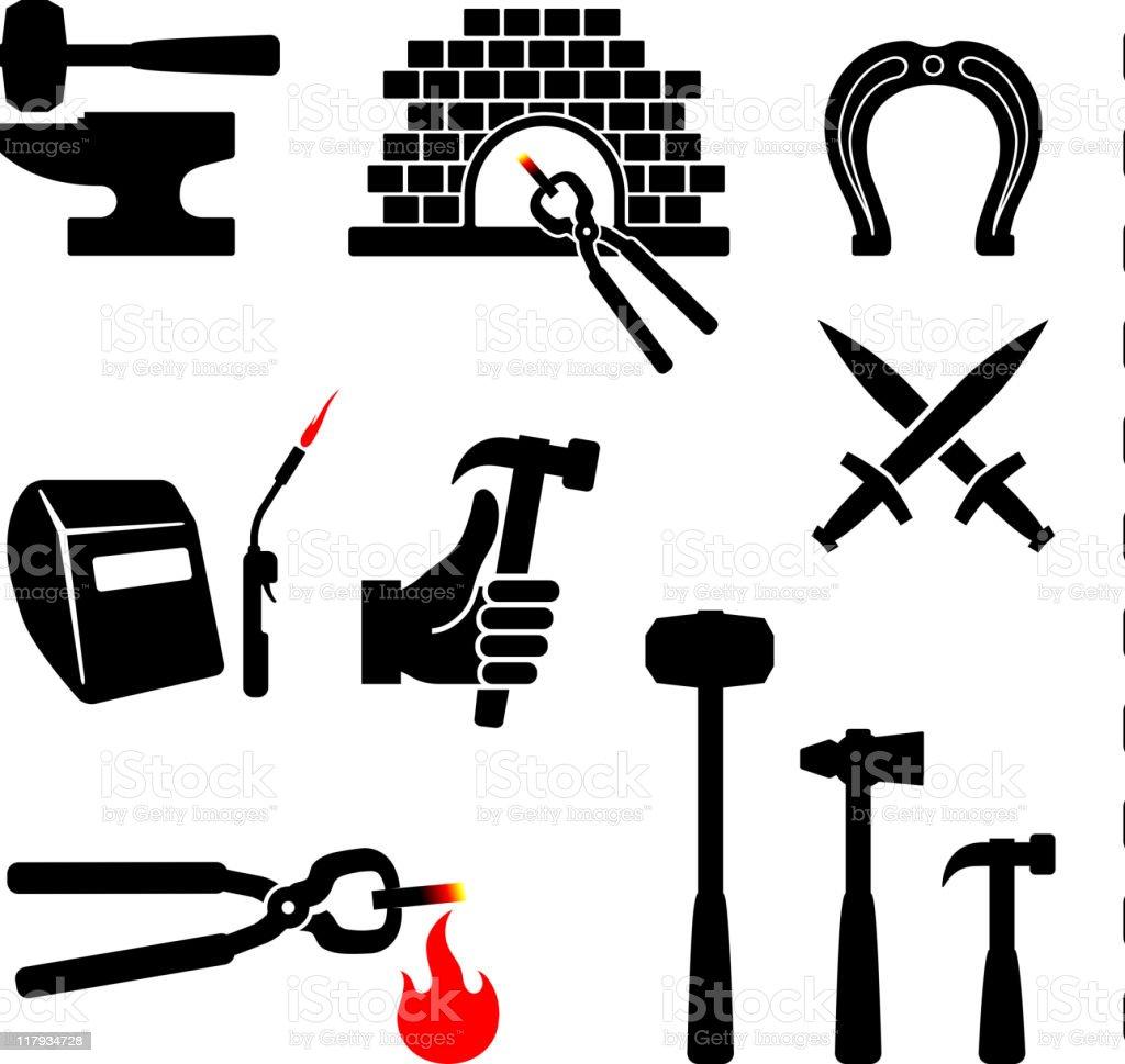 blacksmith black and white royalty free vector icon set vector art illustration