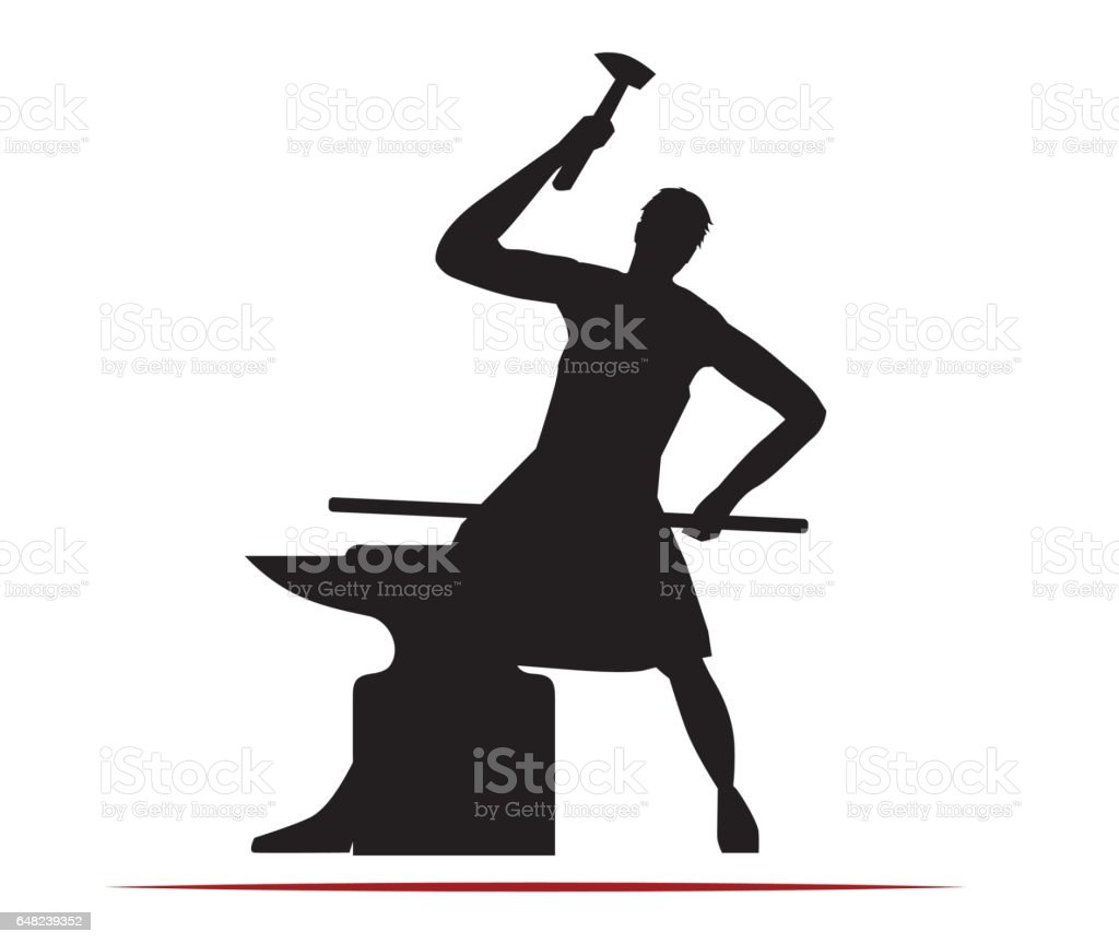 Blacksmith Concept Design vector art illustration
