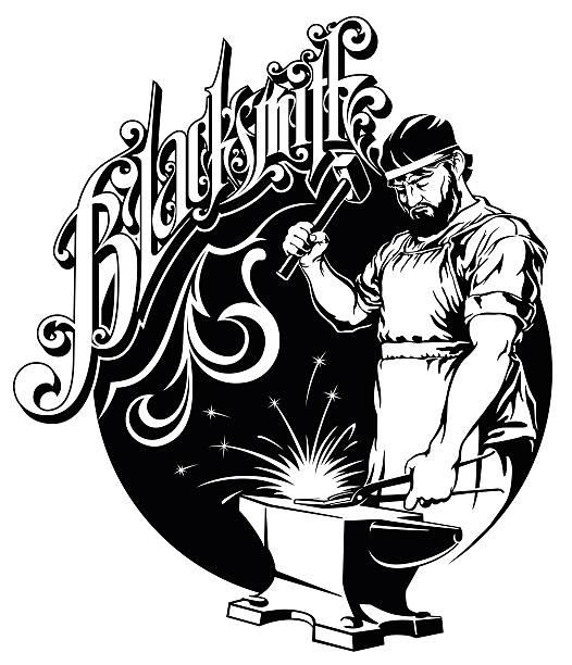 blacksmith hammer hit metal on the anvil vector illustration vector art illustration
