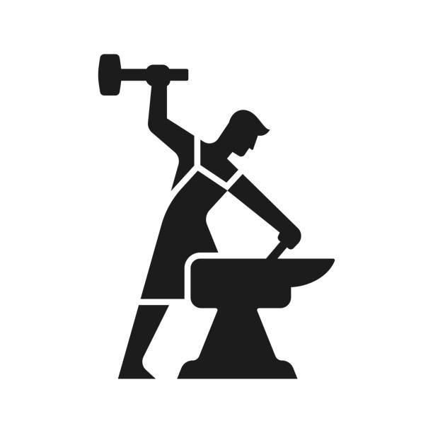 Blacksmith icon silhouette vector art illustration