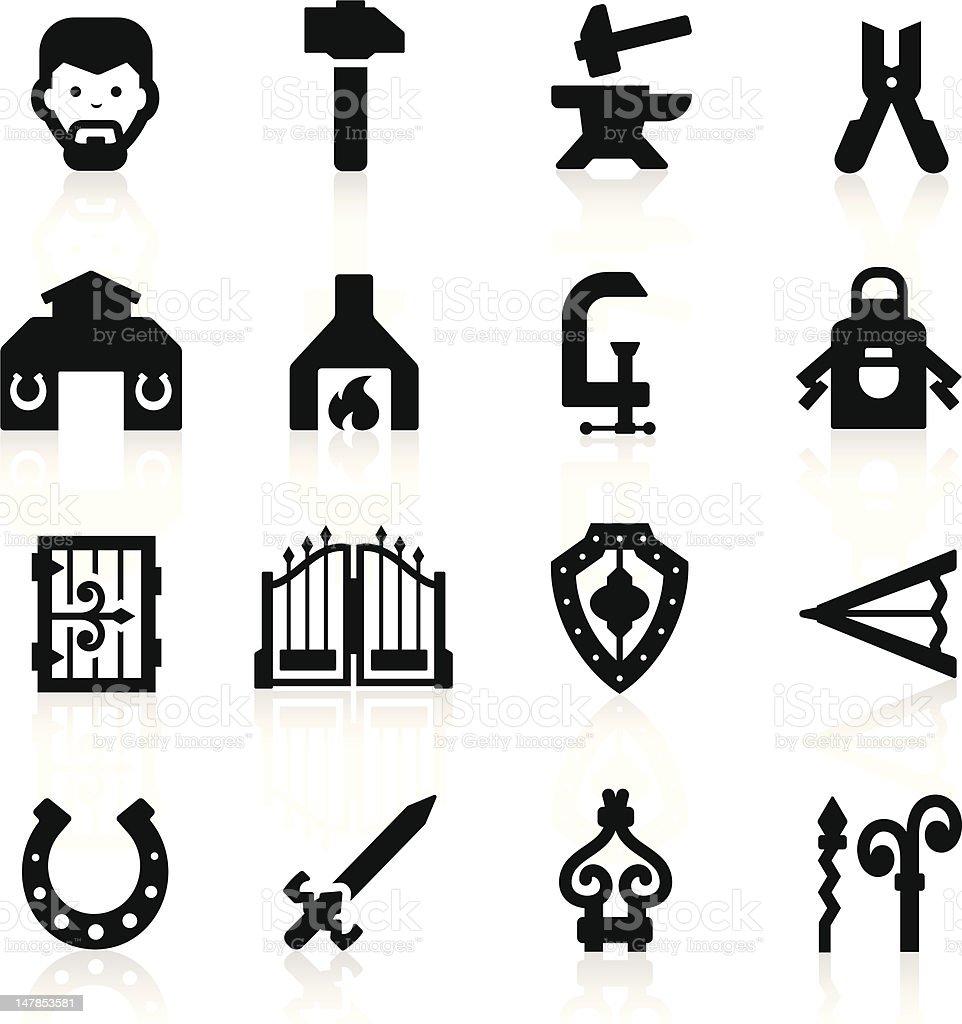 Blacksmith icons set – elegant series vector art illustration