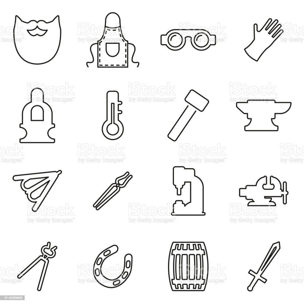 Blacksmith Icons Thin Line Vector Illustration Set