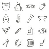 Blacksmith Icons Thin Line Vector Illustration Set