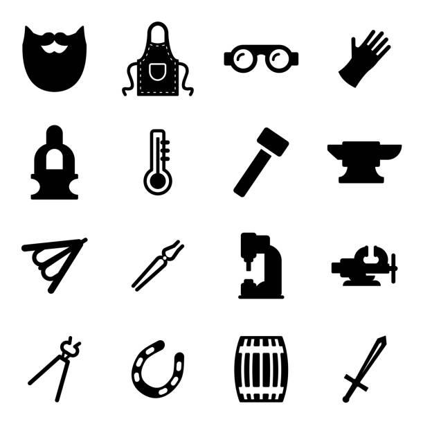 illustrations, cliparts, dessins animés et icônes de icônes de blacksmith - alliage