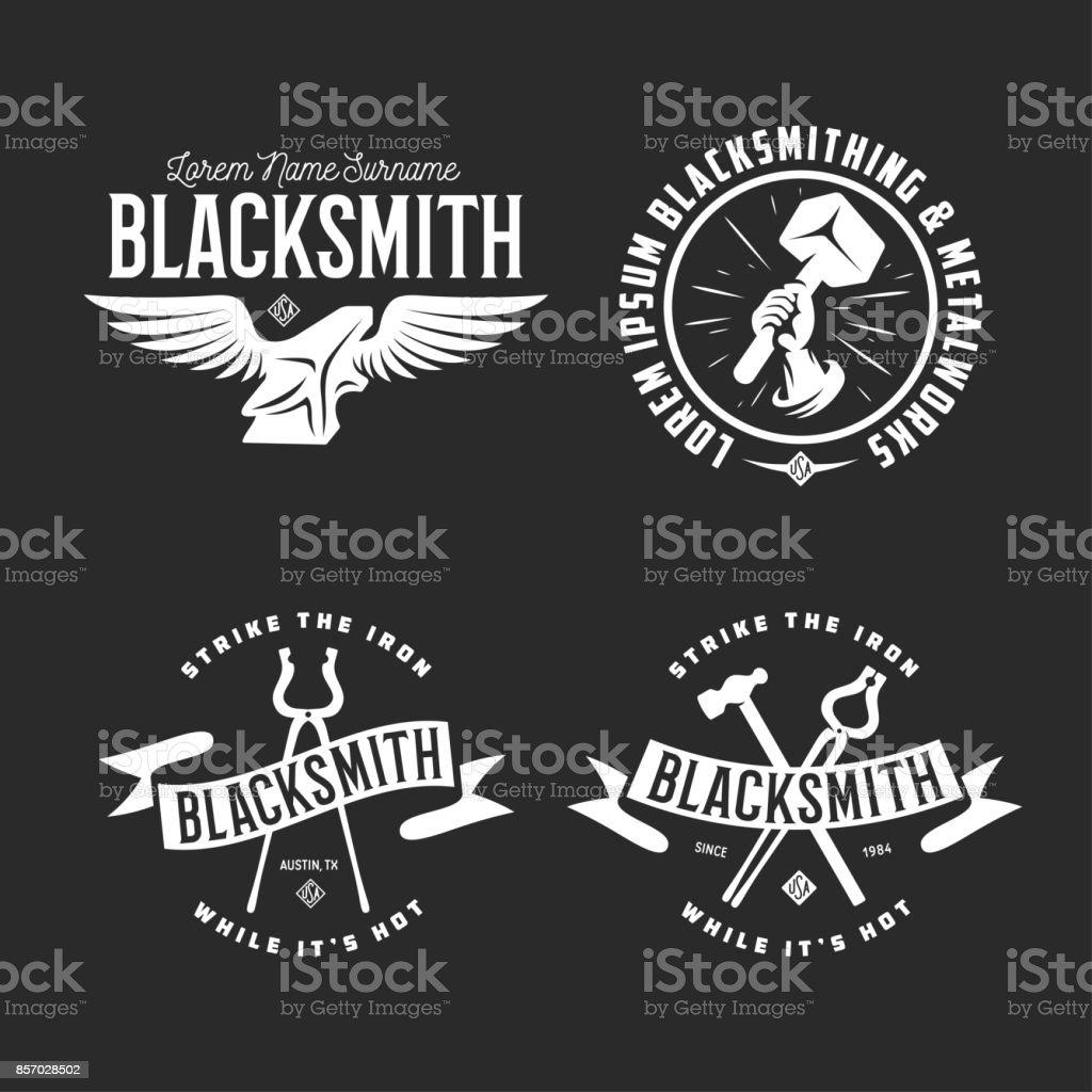Blacksmith labels set. Vector vintage illustration. vector art illustration