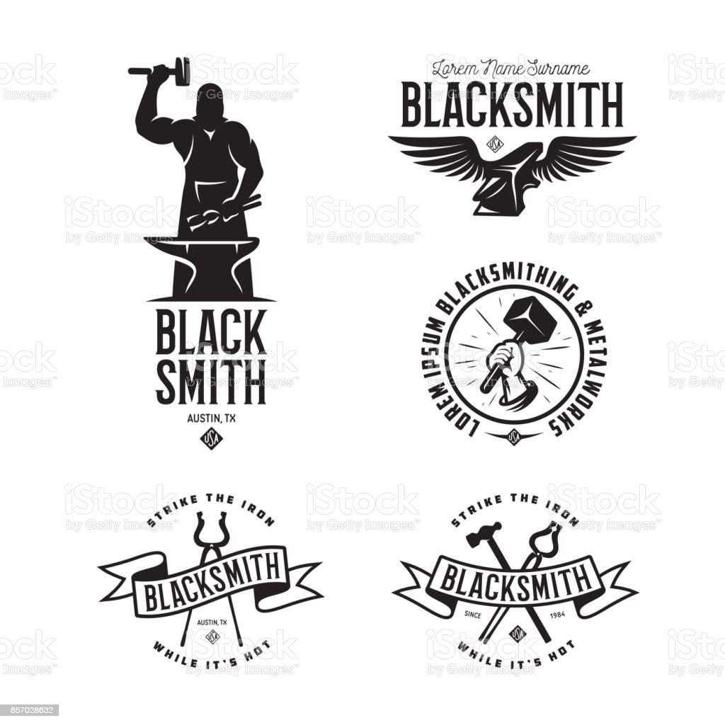 Blacksmith labels set. Vector vintage illustration. vector art illustration