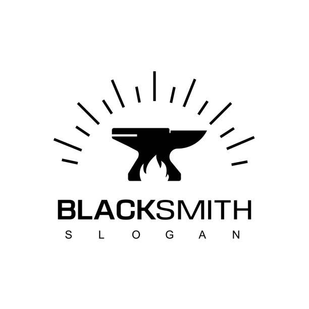 blacksmith logo design vorlage - metallverarbeitung stock-grafiken, -clipart, -cartoons und -symbole