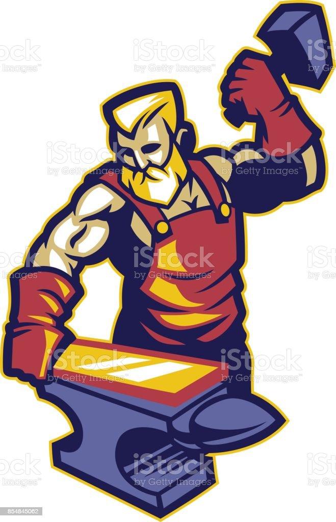 Blacksmith vector art illustration