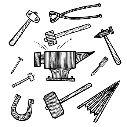 Blacksmithing, anvil, tongs, hammer and sledgehammer, nail, chisel and horseshoe, vector illustration. Vintage graphics and handwork