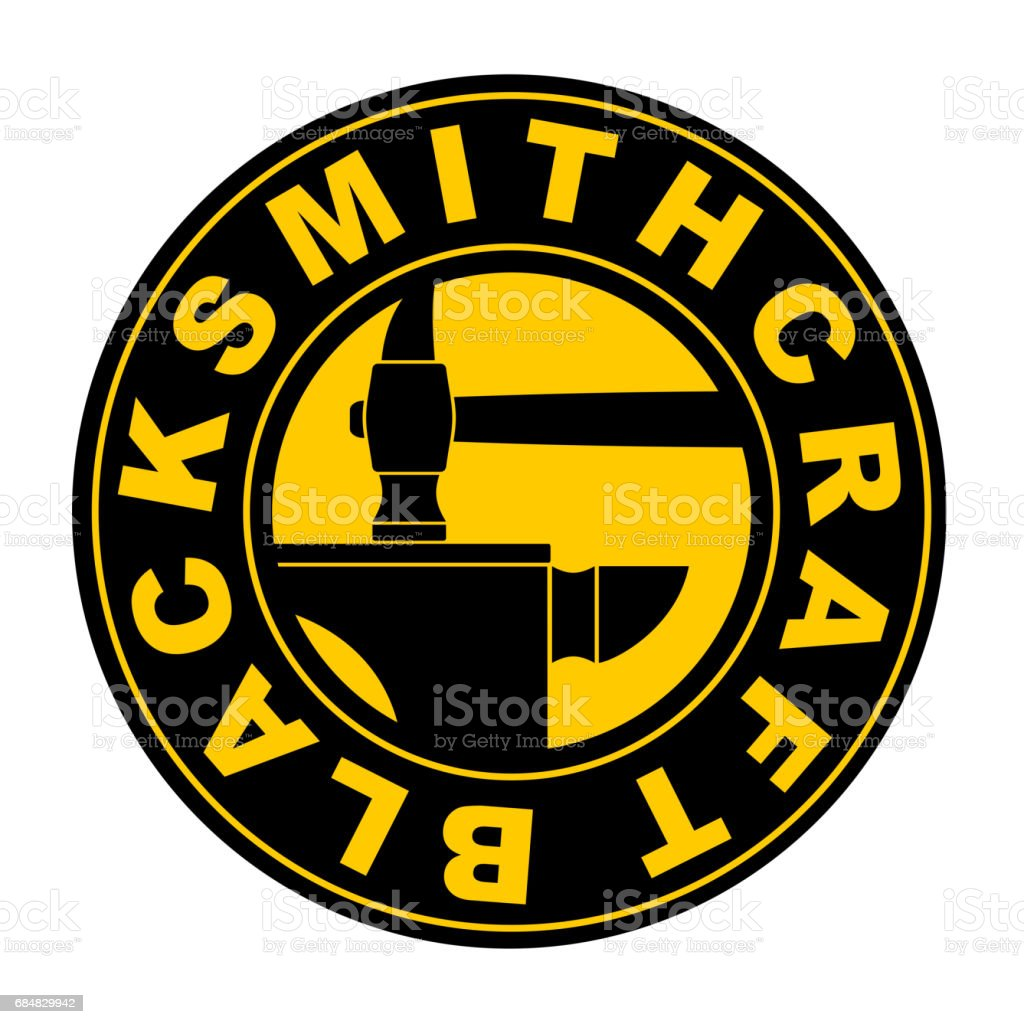 Blacksmithing emblem.  smithy. Wrought iron. Hammer and anvil. Sign for smith vector art illustration