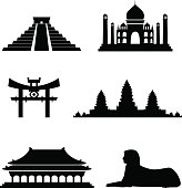 Six famous exotic landmarks. Good for street maps, travel websites or cultural purposes. All elements and textures are easy to edit. Hires JPEG and EPS file included!