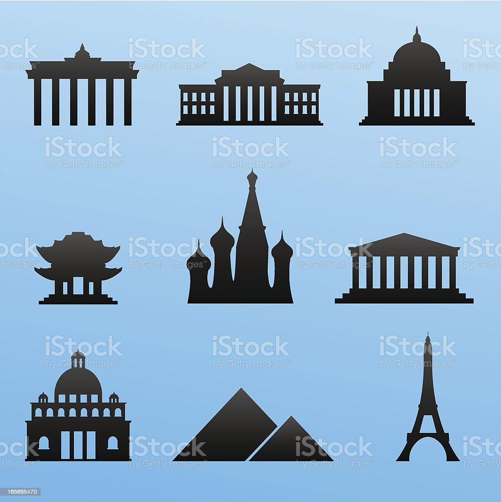 Blackstyle Icon Set Landmarks royalty-free blackstyle icon set landmarks stock vector art & more images of acropolis - athens