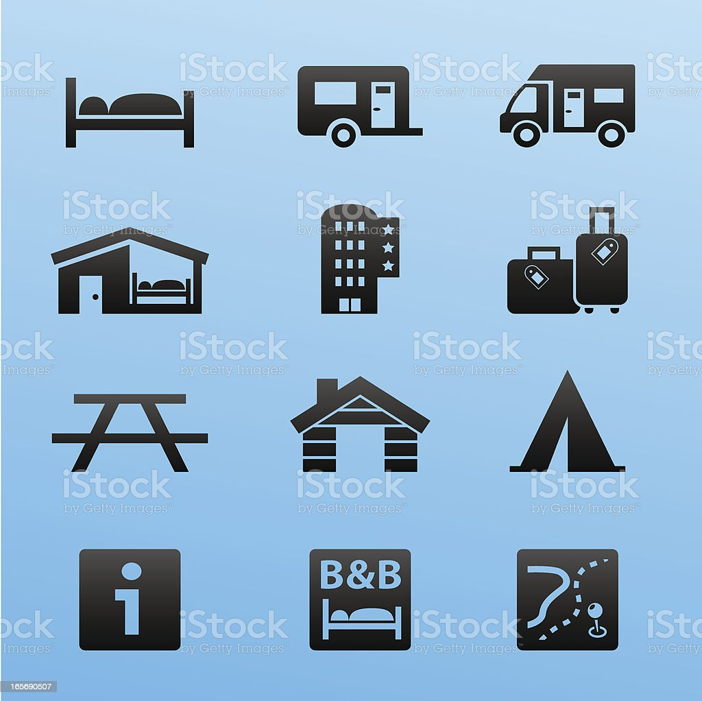 Blackstyle Icon Set Lodging and Accommodation royalty-free stock vector art