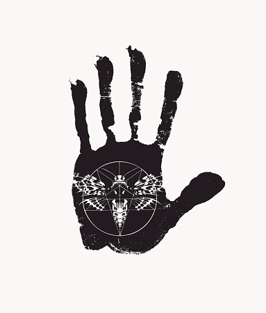 black-white banner with handprint and scary moth