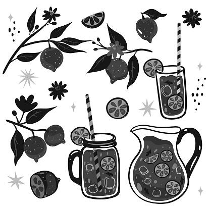 Black-white set of lemons and lemonade. Vector graphics.