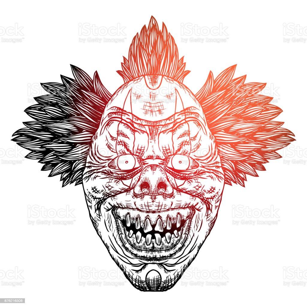 Blackwork Chair Adultes Tatouage Concept De Tete De Clown Diable