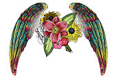 Blackwork tattoo elements isolated on white background. Tattoo flash baby t shirt sticker style. Wings and blooming lily, roses drawing in feminine style. Angel or bird wings flowers. Vector.