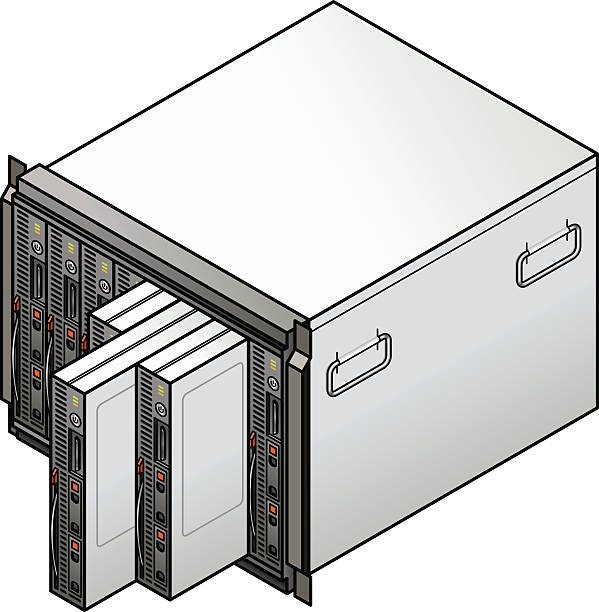 Blade server Server component: blade server combo with eight blades. Three blades are being removed. blade stock illustrations