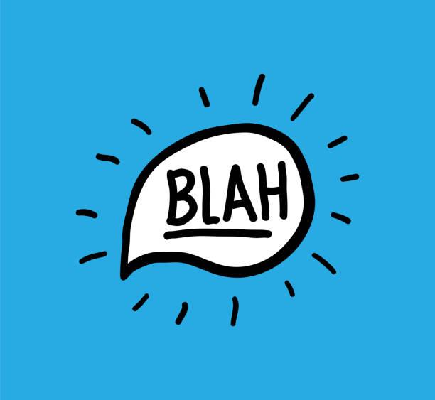 Blah Vektor doodle handgeschriebenen Worte Kalligraphie Sprechblase – Vektorgrafik
